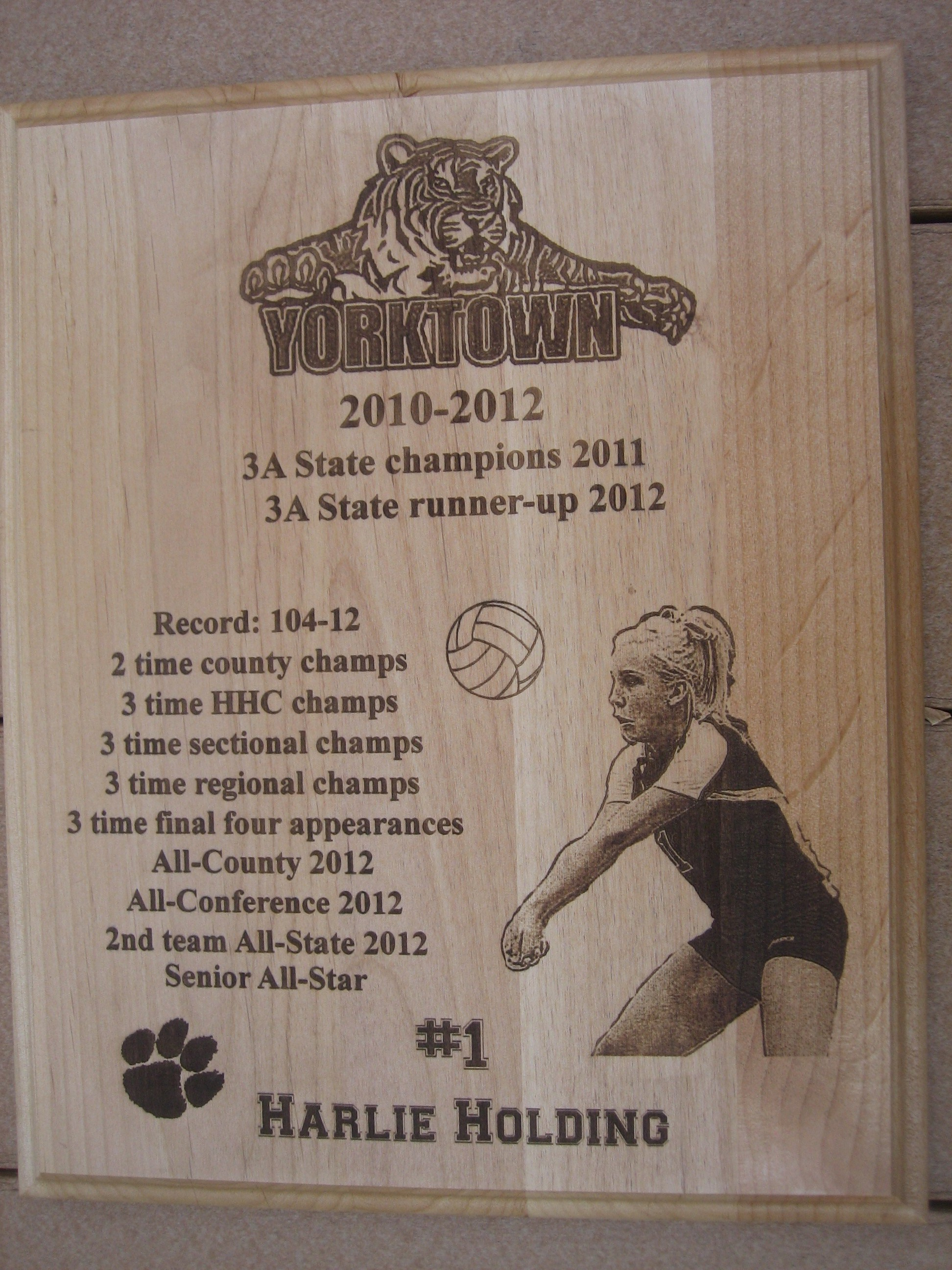 "Athlete's picture in Action Laser Engraved 10"" x 13"" Plaque"