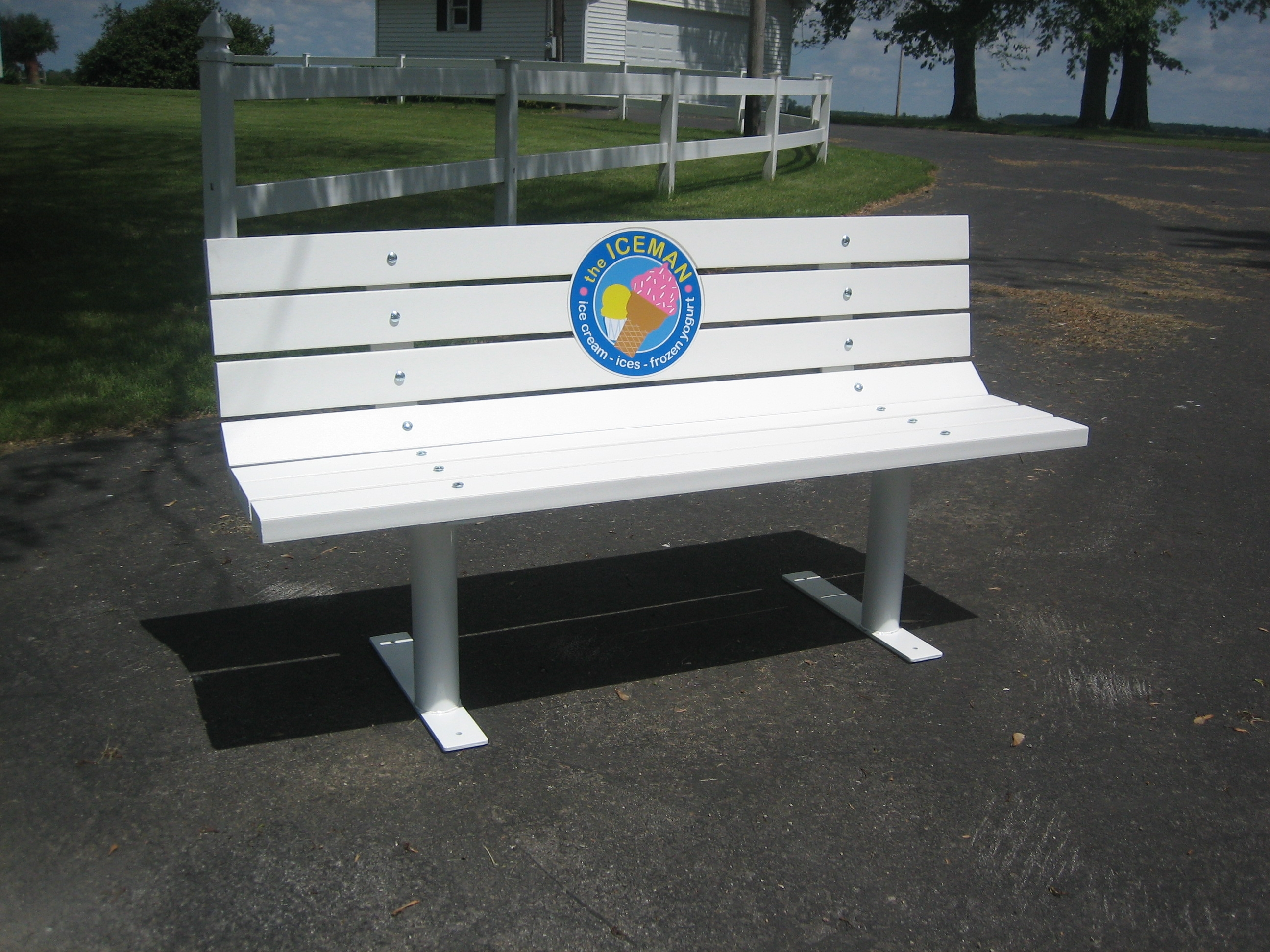 Logo Park Bench (Free Standing w/ Recycled Plastic Lumber)
