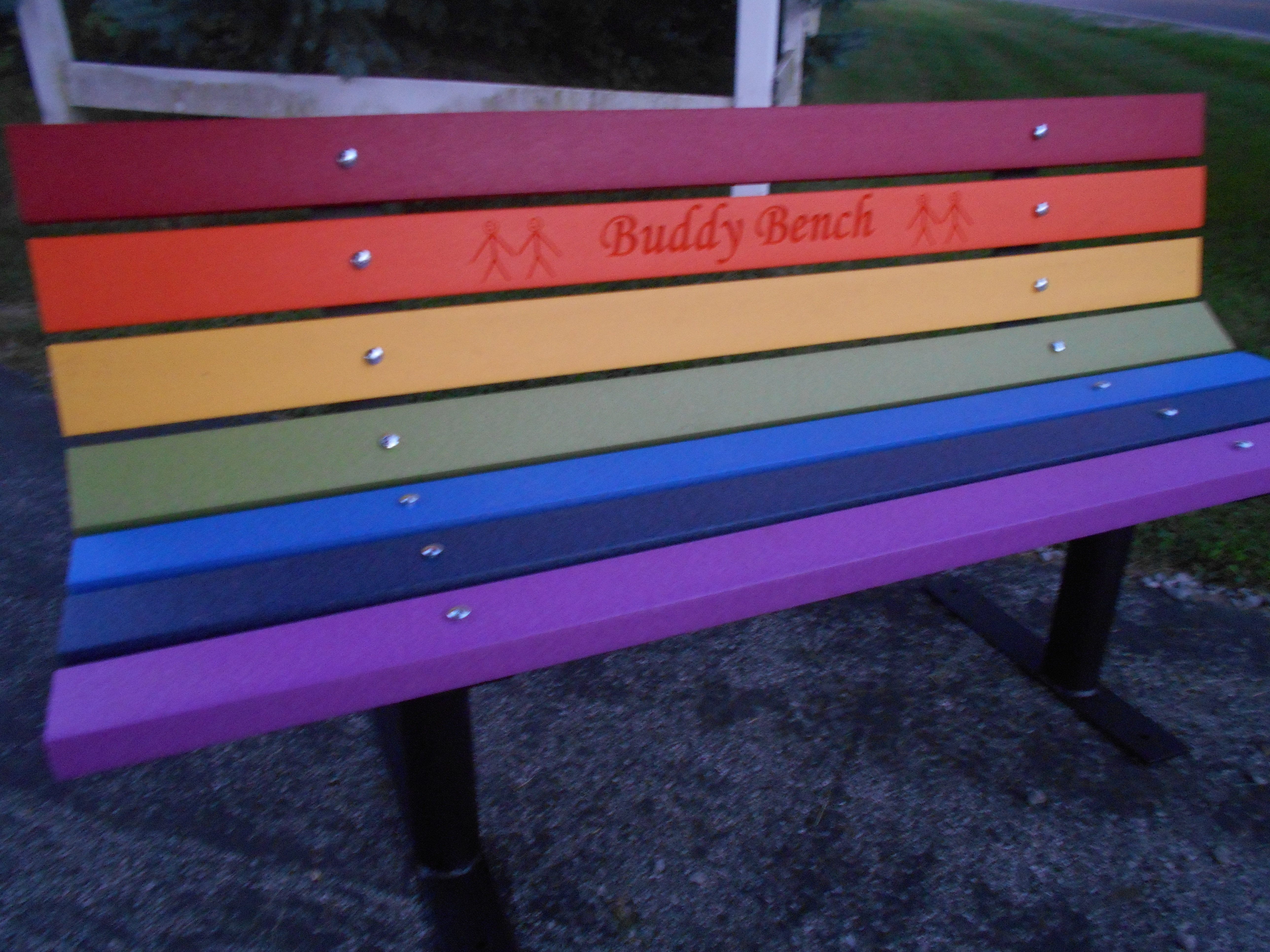 Buddy Bench Vibrant Rainbow Colors
