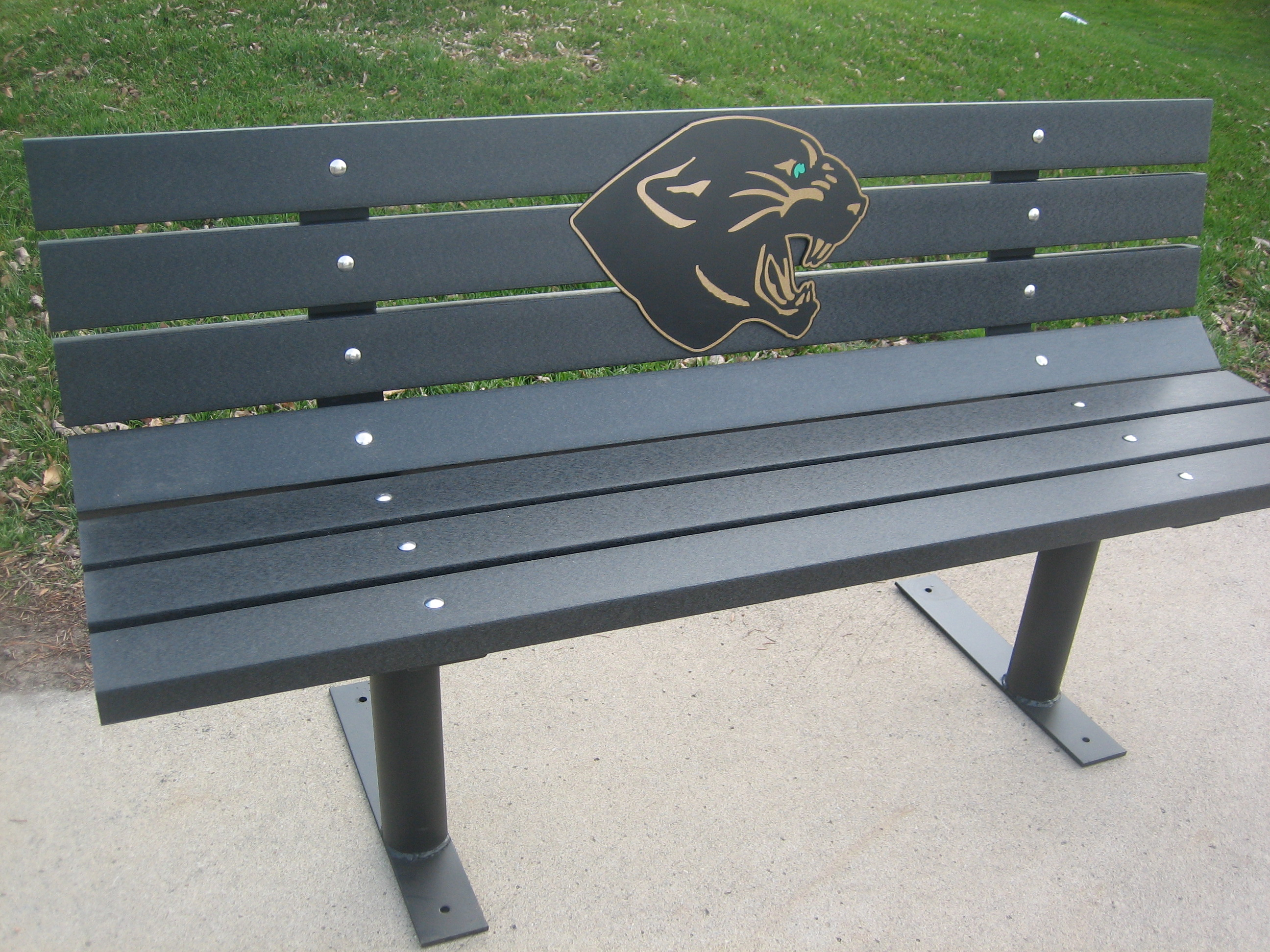 Logo Park Bench Free Standing W Recycled Plastic Lumber M13bf Wood Kits Park