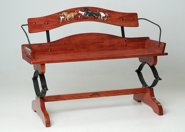 Poplar Buckboard Bench with Laser Engraved Running Horses