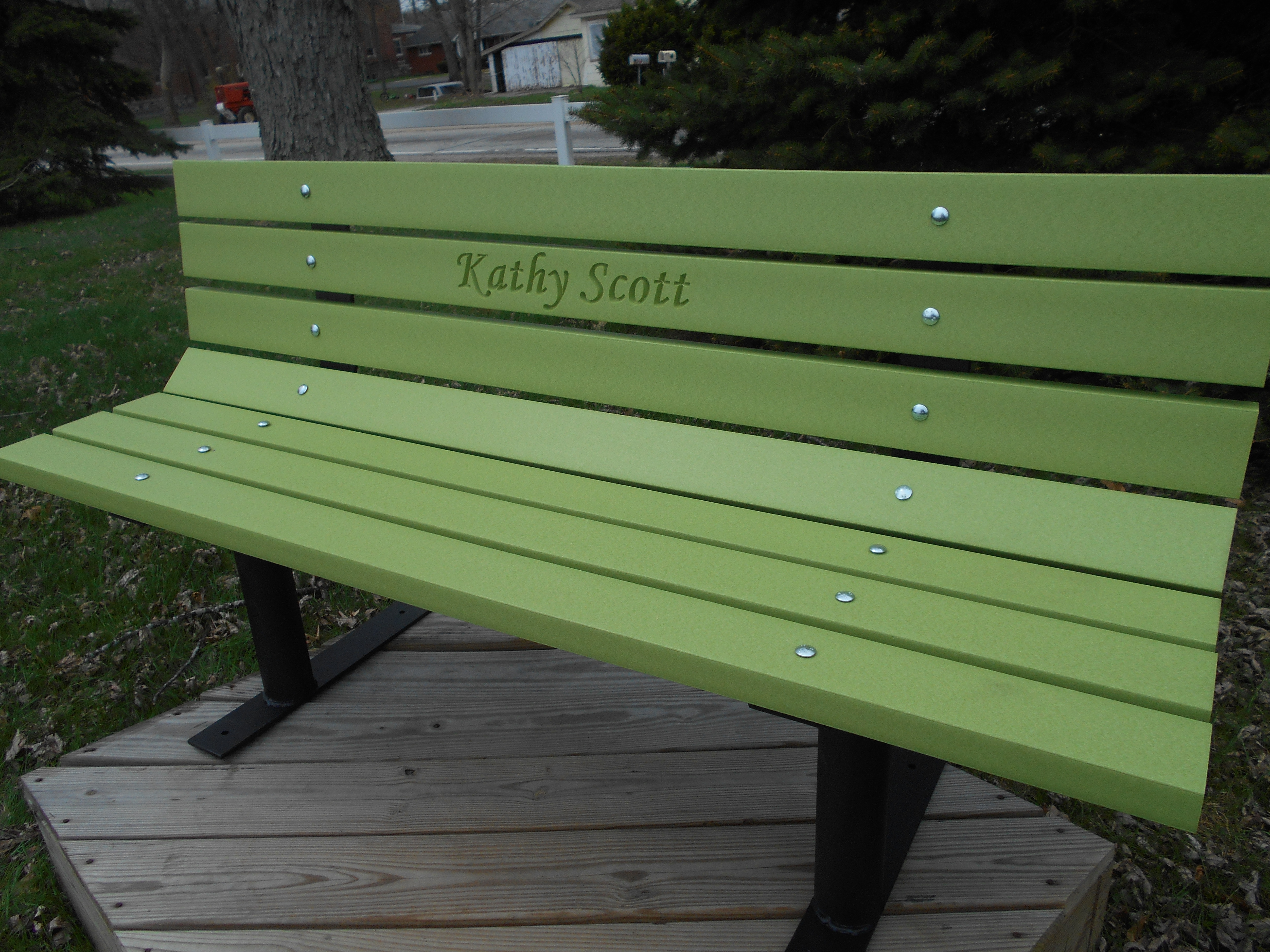 Memorial Park Bench With Free Standing Frames Vibrant Lime Green M13bf Wood Kits